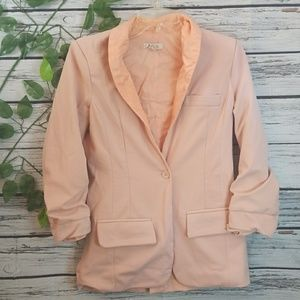 Alythea long ruched sleeve button blazer jacket Sm